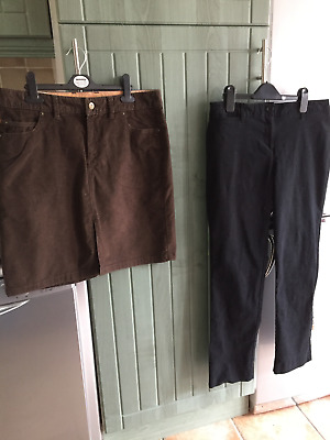 "Boden & Timberland Ladies Uk Size 12 - Black Jeans  - Brown Cord Skirt 29"" - Vgc"