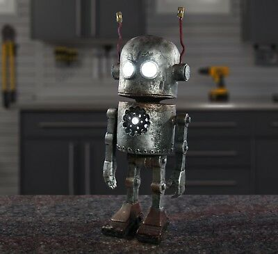 Solar Robot with Glowing Eyes and Chest Home & Garden Gnome Statue Decoration