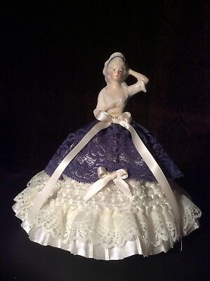 GERMAN PORCELAIN HALF DOLL PINCUSHION with ORIGINAL WOOD BASE, COLLECTIBLE DOLL