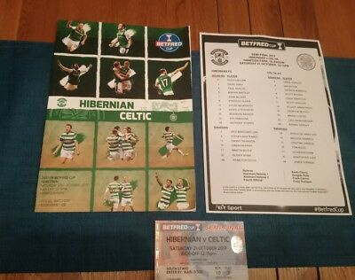 Celtic vs Hibs - 21-10-17 programme, team sheet & used ticket - Hampden