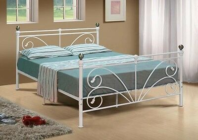 Vintage Metal Bed Frame Luxury King Size Ivory Antique Style Iron Bedstead 5Ft