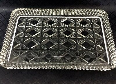 Antique Glass Tray Art Deco Vanity Stand Serving Plate Crystal Saw Cut Border