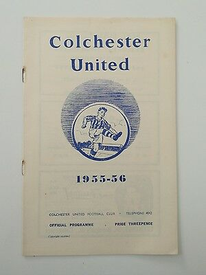 Colchester United v Watford 21/1/56 Division Three South programme