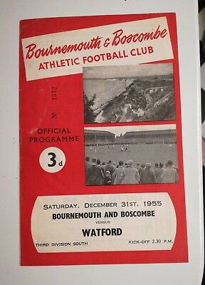 Bournemouth and Boscombe v Watford 31/12/55 Division Three South programme