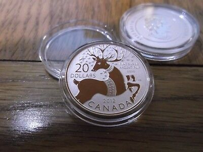 2x 2012 Fine Solid Silver Proof Christmas Reindeer $20 Coins, in capsules.