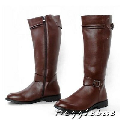 Mens Side Zipper Equestrian Riding Boot Combat Synthetic Military Shoes#US 10.5
