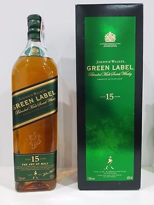 Johnnie Walker Green Label 1000Ml, Old Style, Rare Collectors Item