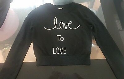 girls river island black crop top jumper ager 7-8 years
