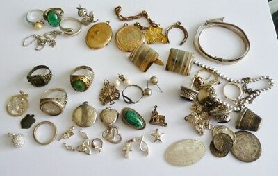 Lot of Antique/Vintage Sterling Silver, Rolled Gold Jewellery Scrap/Wear/Repair