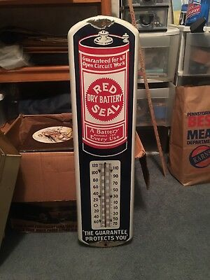 VINTAGE RED SEAL DRY BATTERY PORCELAIN THERMOMETER Nice