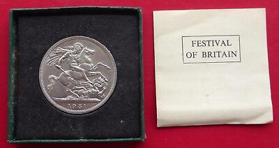 A 1951 King George Vi  Festival Of Britain One Crown Coin In Box + Paperwork