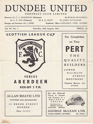 Dundee United v Aberdeen 10 Aug 1963 League Cup