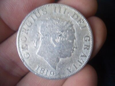 SILVER 1819 GEORGE III half crown IN F GRADE COIN A GOOD COLLECTORS ITEM