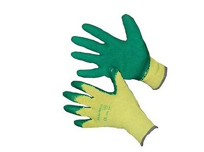 LATEX COATED GLOVES large GARDENING, BUILDING RUBBLE  x 8
