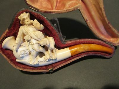 19th cent.Excellent Antique Meerschaum Carved Smoking Hunter with Dog
