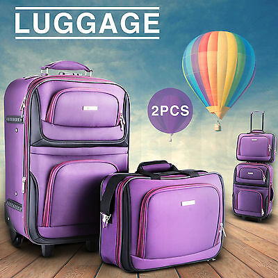 2PC Expandable Luggage Suitcase Travel Set Carry On Trolley Lock Tote Bag Purple