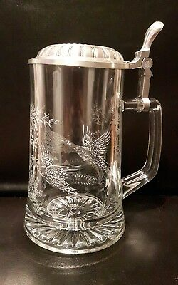 beer stein pewter lid with initials engraved etched glass 95% zinn birds forest