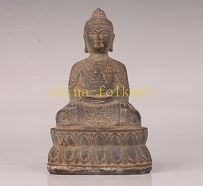 Old Buddhist Bronze Casting Buddha Statue Collectable