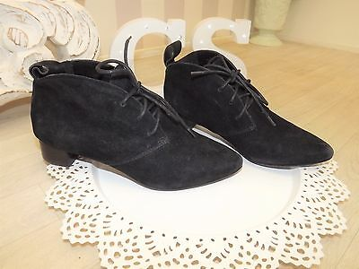 Vintage 90s Suede Leather Pixie Granny Lace up Victorian Ankle Boots  5 38