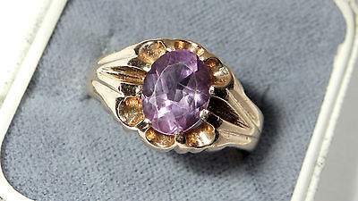 SOLID 9ct Gold est 1.65ct AMETHYST oval cut solitaire ring B'ham 1969 5.1grams