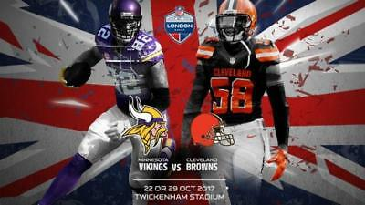 Nfl Twickenham Vikings Browns Sunday 29Th October Tickets X2 £44 Face Value Each