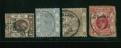 (Hkpnc) Hong Kong #rc Qv To Kgv Hoihow Cds Lot.one Stamp Thin On Front.f-Vf