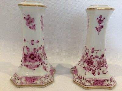 Pair 19th Century Meissen Hand Painted Purple Indian Porcelain Vases