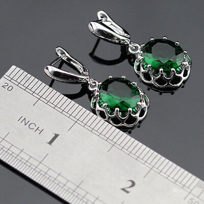Emerald  Sterling Silver Gemstone Earrings Gift Box