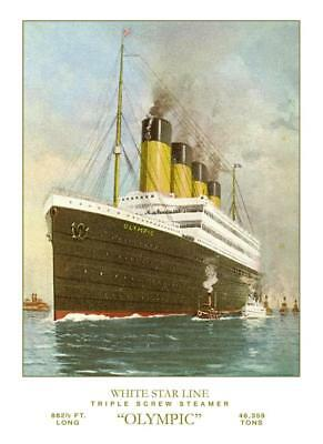 White Star Line RMS Olympic -Post Titanic  Poster 8 x 12