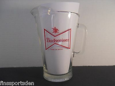 """BUDWEISER """"King Of Beers"""" Glass Advertising Beer Pitcher ~ Bowtie Anheuser-Busch"""