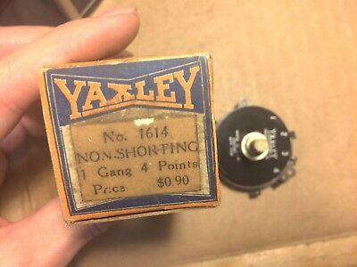 NOS NIB Yaxley Rotary Switch 4-position 1-gang 1930s or 1940s Radio 1614
