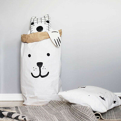 Bear Monochrome Scandi Basket Toy Kids Storage Nursery Laundry Bag