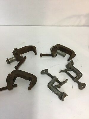Vintage Industrial Metal Clamps Lot of 5 Steampunk,  Crafts, Tools