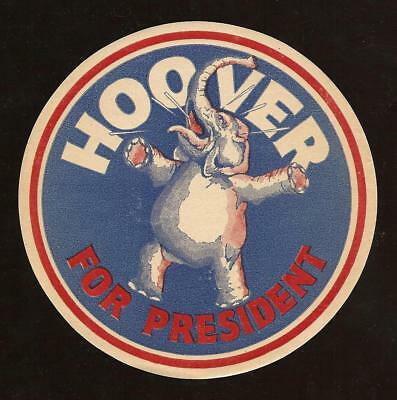 Herbert Hoover Republican Political Campaign Pinback Button STICKER GOP Elephant