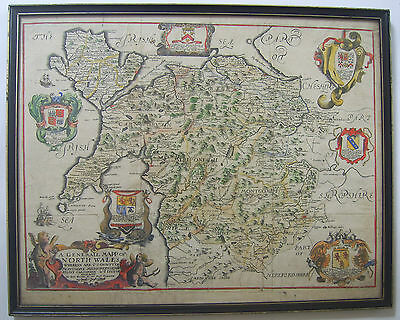 North Wales: antique map by Richard Blome, c1673