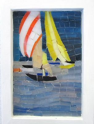 Stained glass Mosaïc ¨5¨x 7¨(12.7 cm x 17.7 cm)  (sail boats)