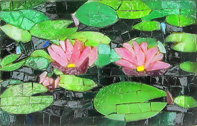Stained glass Mosaïc ¨5¨x 7¨(13 cm x 18 cm) (nénuphar ,  water-lily)