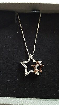 Azendi Sterling Silver and Rose Gold Plate Star Necklace