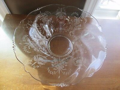 "Vintage Heisey Glass Etched Orchid 12"" Center Serving Bowl"