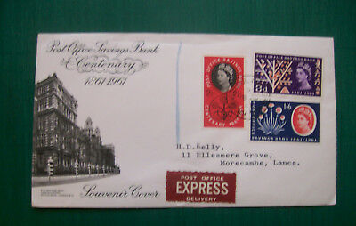 "GB QE"" 1961 Post Office Savings Bank First Day cover + express delivery"