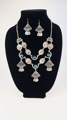 Classic Coin Imitation Gemstone Necklace/Earrings Set
