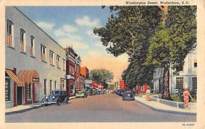 Walterboro South Carolina Washington Street Scene Antique Postcard K76681