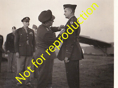 WWII Original Photo Lt. General Brereton awards Colonel in the 9th US Air Force