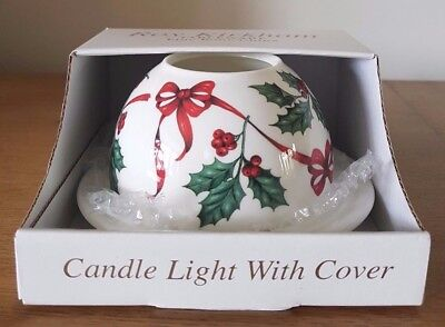 ROY KIRKHAM Fine Bone China Christmas Candle Light With Cover - New in Box