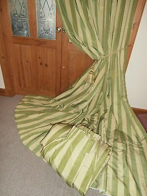 "Huge Moire Silk Interlined Curtains & Ties 103""Drop.Blackout. Fixed Width 78""TPP"