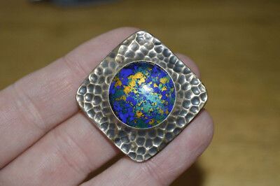 Vintage Arts & Craft Ruskin Styled Brooch Pin Silver Front