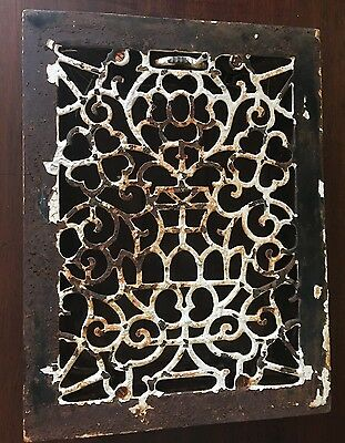 Vintage VICTORIAN Cast Iron Floor Grille 16 x12 Heat Grate Register with Louvers