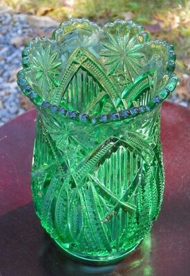 RARE! MINT ELEGANT LARGE GREEN McKEE GLASS VASE SPOONER!