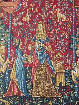 """MARGOT  'DAME a la LICORNE' MEDIEVAL TAPESTRY PICTURE CANVAS -SMALL START 20x25"""""""
