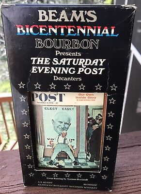 BOXED Vintage Jim Beam Decanter Norman Rockwell Bicentennial Edition 1976 Sealed